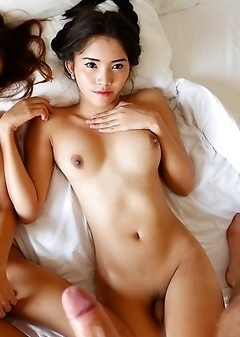 Two Thai shemales Ice and Samy fuck and suck tourists cock and balls
