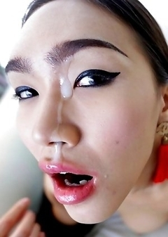 21 year old busty Thai ladyboy Ivy strips and sucks tourist cock for a facial