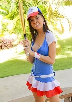 Ladyboy Bell is ready to play in her sexy baseball outfit
